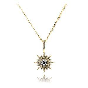 925 Gold shiny star crystal necklace